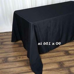 """10 Pack Black 90x156"""" Polyester Rectangle Seamless Tableclot"""