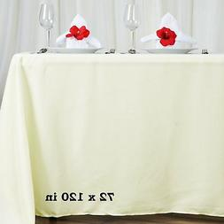 """10 Pk Ivory 72x120""""  Polyester Rectangle Seamless Tablecloth"""