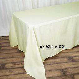 """10 Pk Ivory 90x156"""" Polyester Rectangle Seamless Tablecloth"""