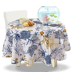 100% Polyester Spillproof Tablecloths for Round Tables 60 In