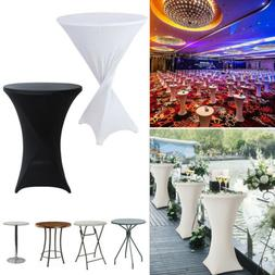 10X Black White Spandex Cocktail Table Cover Stretch Fitted