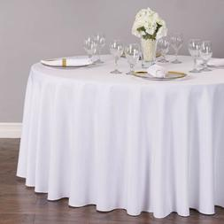 120 in. Round Polyester Tablecloths  - WHITE