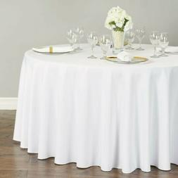 """Lot of 4 LinenTablecloths 120"""" Round Polyester Tablecloth Wh"""