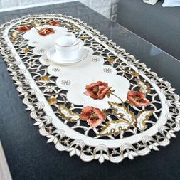 1pc Oval Embroidered Lace Tablecloth Table Cover Home Table