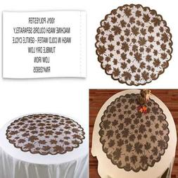 """40"""" Round Lace Table Topper Maple Leaf BROWN Perfect For Fal"""