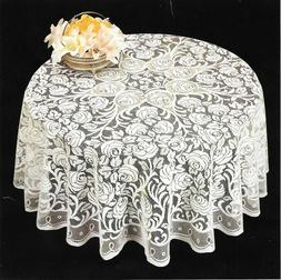 40 Inch Round Decorative Lace Tablecloth with Floral Design