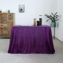 GFCC 50x50'' Sparkly Purple Sequin Tablecloth Christmas Tabl