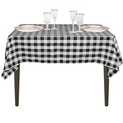 LinenTablecloth 54-Inch Square Polyester Tablecloth Black &