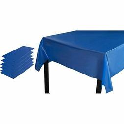 6-Pack Blue Disposable Plastic Rectangular Tablecloth Table