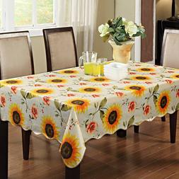 "60"" Square Sunflowers Vinyl Waterproof Tablecloth for Countr"