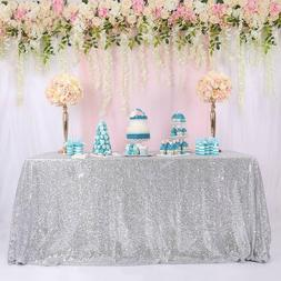 """60""""x102"""" Silver Sequin Tablecloth Sequin Table Cloth Cover W"""