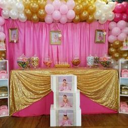 """60""""x102""""Sparkly Gold Sequin Tablecloth Rectangle Glitter Tab"""