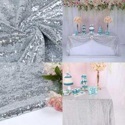 """60X102"""" SILVER Rectangle Tablecloth For Wedding Party Cake D"""