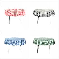 70 in. Round Polyester Tablecloth Gingham Checkered Party Ev