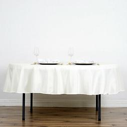 70-Inch Ivory Round Polyester Tablecloth Table Cover Linens