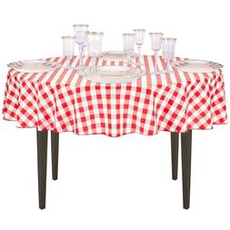 LinenTablecloth 70-Inch Round Polyester Tablecloth Red & Whi