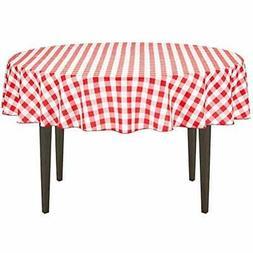 Linentablecloth 70 Inch Round Polyester Tablecloth Red White