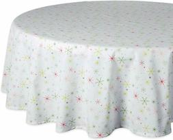 """DII 70"""" Round Cotton Tablecloth, Christmas Stars"""