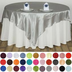 """72x72"""" Square SATIN Table Overlays Wedding Party Linens for"""