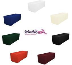 8 ft. Fitted Polyester Tablecloth, 7 Colors, Wedding & Trade