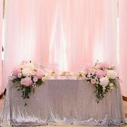 """90""""x132"""" Silver Sequin Tablecloth Rectangle Table Linens for"""