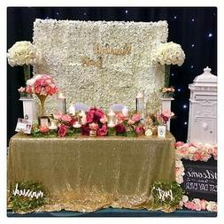 """90""""x90"""" Rectangle Sequin Tablecloth for Party Cake Dessert G"""