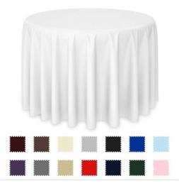 """90x132"""" Lann's  Polyester Round Tablecloths For Wedding Pa"""
