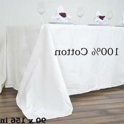 """90x156"""" Ivory 100% COTTON TABLECLOTH High Quality Catering H"""