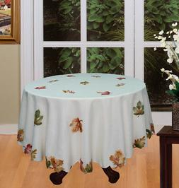 """Autumn Fall Maple Leaf 68"""" ROUND Beige Fabric Tablecloth Cre"""