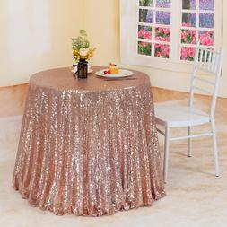 """Trlyc 108"""" Round Rose Gold Sequin Tablecloth Sparkly Table C"""