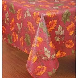 Autumn Leaves Flannel-Backed Vinyl  Tablecloth