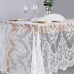"B-COOL 60""x120"" Classic White Lace Tablecloths for Weddings"