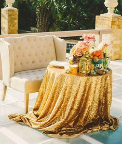b cool gold sequin tablecloths 108inch round
