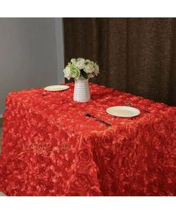 """B-COOL - Red Rosette Florals Satin Square Tablecloth - 60"""" x"""