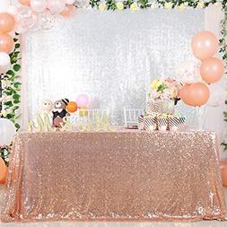 B-COOL Rose Gold Sequin Tablecloth Seamless Rectangle Fashio