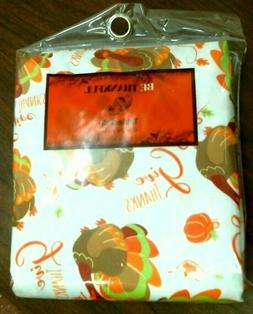"""Be Thankful 60"""" Round Vinyl Tablecloth, Thanksgiving, Give T"""