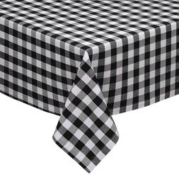 Black & White Cotton Rich Checkered Kitchen Tablecloth: Ging
