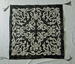 Black Square Tablecloth with Intricate Silver Embroidery Han
