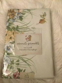 Blooming Bunnies Tablecloth Benson Mills Easy Care White Spi