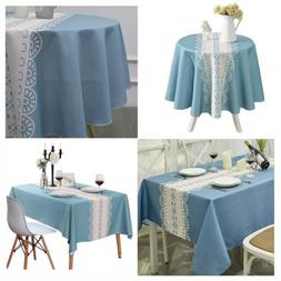 Blue Tablecloth Rectangle&Round Water Proof Table Cover with