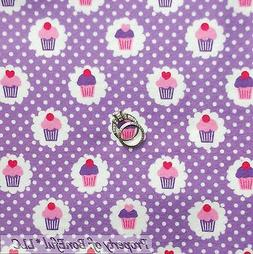 BonEful Fabric FQ Cotton Flannel  Purple White Pink Dot Cupc