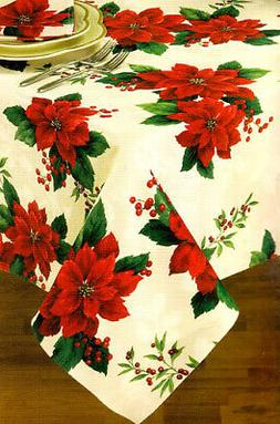 Christmas Rectangle Tablecloth 60 x 84 Past Times Red Poinse