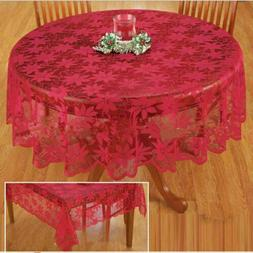 Christmas Table Cloth Red Lace Table Cover Wedding Holiday R