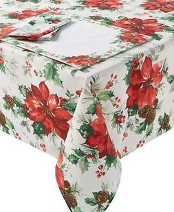 Bardwil Christmas Watercolor Poinsettia Tablecloth Table Lin