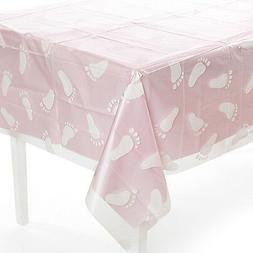 Clear Baby Footprint Tablecloth Baby Shower Party Decoration