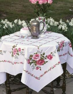 """Victorian Trading Co Cape May Rose Tablecloth 52"""" sq Cotton"""