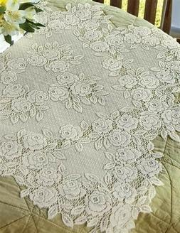 Victorian Trading Co Tea Rose Lace Topper Tablecloth