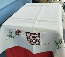 Collections ETC. Embroidered Mauve Rose Table Topper Tablecl