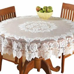 "Collections Etc White Floral Lace Tablecloth 60"" X 90"""