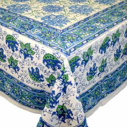 Cotton Block Print Lotus Flower Tablecloth for Square Tables